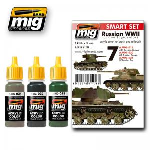 Ammo Mig Jimenez Russian WWII, color set 3x17ml.