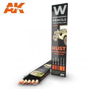 AK Interactive WATERCOLOR PENCIL SET RUST AND STREAKING