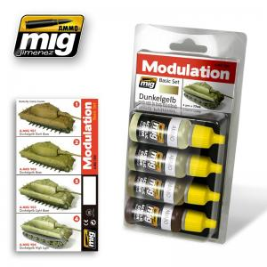 Ammo Mig Jimenez Dunkelgelb (Dark yellow), Modulation set 4x17ml.