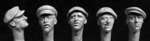 Hornet Models 5 Rural civilians, WW2 era set 1 (more typical of Western Europe) Heads