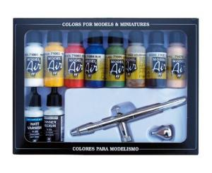 Vallejo Model Air Basic Color Set w Airbrush
