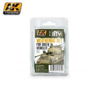 AK Interactive GREEN VEHICLES WEATHERING SET