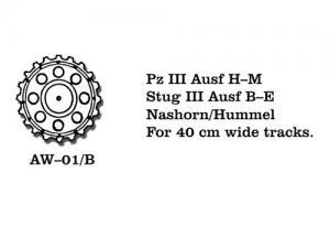 Friulmodel PzKpfw. III Ausf. H-M/ StuG III Ausf. B-E/Nashorn/Hummel - Drive Sprickets for 4