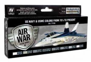 Vallejo Model Air - Paint Set (8), US Navy & USMC Colors from 70's to present.