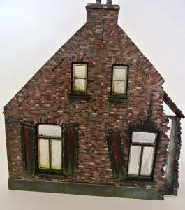 Reality in Scale Large Ruined Farmhouse - Color Casted - Kit contains 15 resin pcs. casted i