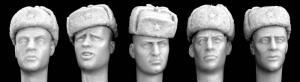 Hornet Models 5 heads, Soviet style ushanka winter caps