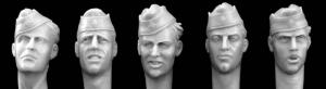 Hornet Models 5 different heads with German army side cap, WW2