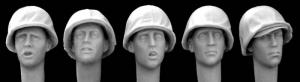 Hornet Models 5 US Heads with early type USMC M1 Helmet covers WWII