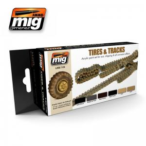 Ammo Mig Jimenez Tires and Tracks, color set 6x17ml.