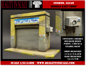 Reality in Scale Middle Eastern Shop - 3 resin pcs. & decals