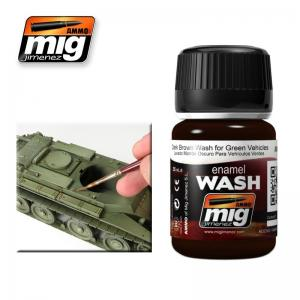 Ammo Mig Jimenez Dark Brown Wash For Green Vehicles