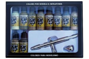 Vallejo CAMOUFLAGE COLORS 10X17ML.+AIRBRUSH