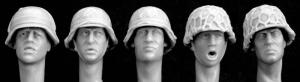 Hornet Models 5 more heads, German helmets with improvised covers