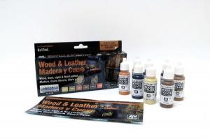 Vallejo Model Color Special Set - Wood & Leater, 8 Color Set-17 ml