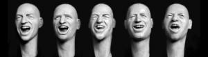 Hornet Models 5 bald heads with triumphant, exulting faces