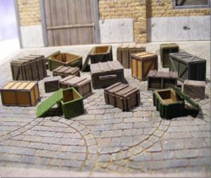 Reality in Scale Crates & Boxes Superset - 4 open, 11 closed and accessories - 24 resin pcs.