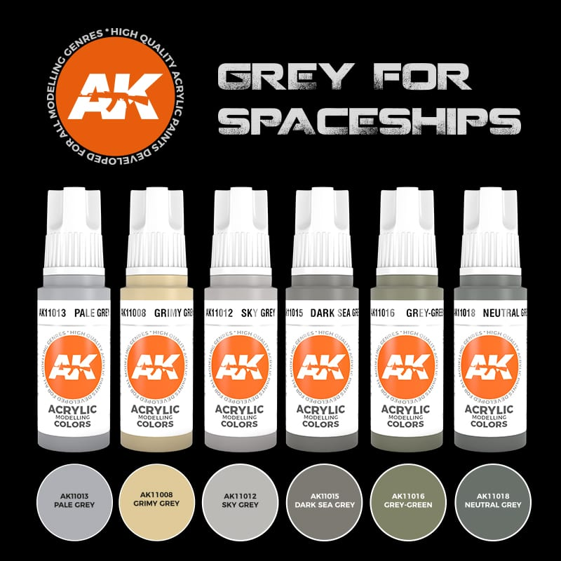 AK Interactive Grey for Spaceships Color Set